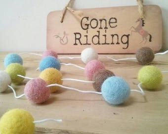 Country girl felt ball garland - felted pom-pom decoration. Pastel, colours, party, pretty nursery, photo prop, hygge play, countrysid
