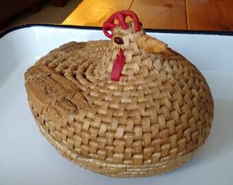 Vintage Rooster Basket Woven