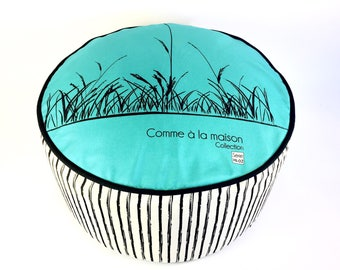 Pouf/turquoise/washable fabric and removable /tissu sturdy polyester and comfortable inner /decoration