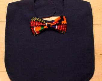 Navy Blue Infant Bib with African Kente Print Bow Tie