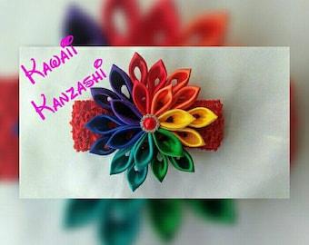 Rainbow Kanzashi flower headband for Baby Girls, Japanese Tsunami Kanzashi flower, Fabric flower, Kanzashi flower, Kanzashi Hair clip.