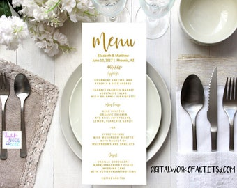 Wedding Menu Template, Gold,Printable Wedding Menu,DIY Rustic Wedding, Table Menu Card, Reception Card, Editable PDF Template,Calligraphy,SG