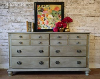 Gray Dresser, Bedroom Furniture, Vintage Furniture, Farmhouse Dresser,  Country Cottage, Nursery