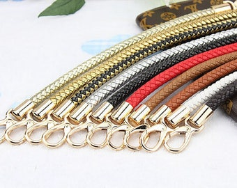 1 Pair Woven Leather Purse Strap, Metal Clasps Bag Strap, Shoulder Purse Round Handle, Braided Hand Strap, Leather Belt Buckle, Tote Chain
