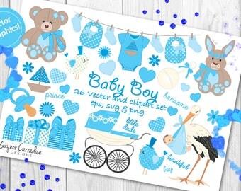 Baby boy vector set, baby boy clipart, new baby vector, new baby clipart, christening vectors, christening clipart, baby shower clipart