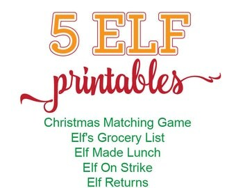 Elf Printable Bundle, Elf Printable Kit, Christmas Matching Game, Elf's Grocery List, Elf Made Lunch, Elf On Strike, Elf Returns