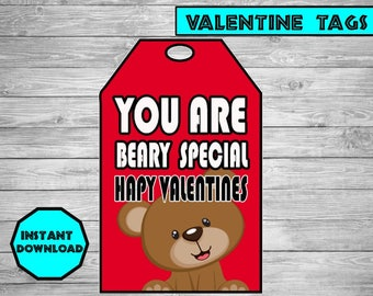 Valentines Day - Valentines Decor- You are beary special tag- Happy Valentines Day gift tag - Printable Valentines Tag-Valentines printable