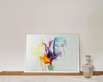 Original watercolor, painting, abstract, portrait, Dreamcandle