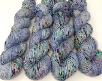 Hand Dyed Sock Yarn - Dots on Denim - 75/25 Superwash Merino Wool and Nylon- 4 Ply Fingering Weight