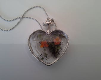 natural transparent heart silver necklace