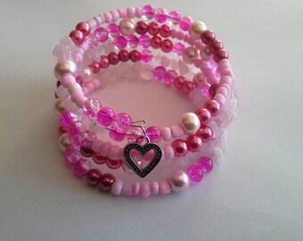 memory Wire Bracelet pink tone, silver heart