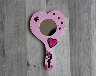 mirror hand painted pink fairy