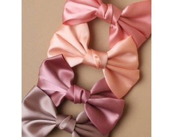 Satin Fabric Bow Barrette in Mocha, Peach, Coral & Blush. French clip, Wedding barrette, Bridal Hair clip. Bow Hair Clip, Satin Bow
