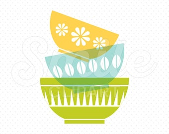 STACKED BOWLS Clipart Illustration for Commercial Use | 0005