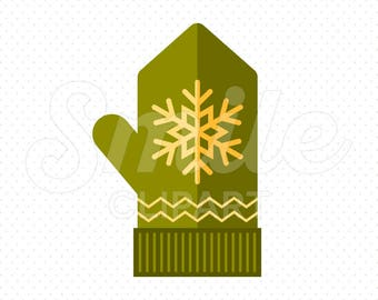 GREEN MITTEN Clipart Illustration for Commercial Use   0024