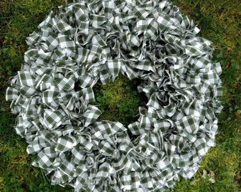 St Patrick's Day or Year-round Decor Green Rag Wreath