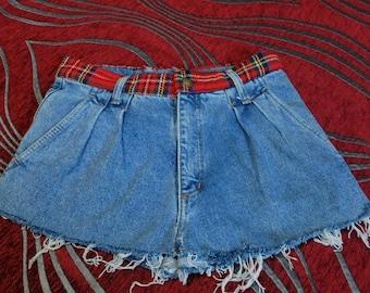 High Waist Skirt, Denim Skorts, Tartan Plaid Skirt, Steam Punk Skirt, Punk Rock Skirt, Rocker Skort, Handstitched Skort, College Skirt