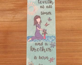 Bible Verse Bookmark - Proverbs 17:17 -  handmade WITHOUT tassel  (stock #7) a friend loveth at all times