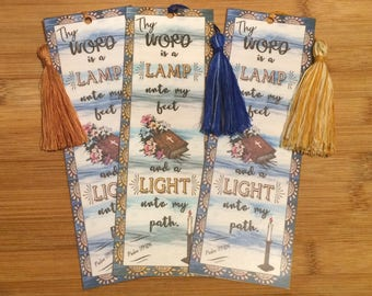Bible Verse Bookmark - Psalm 119:105 -  handmade WITH TASSEL (stock #13)