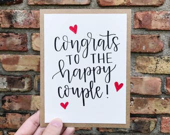 Congrats to the Happy Couple Greeting Card with Red Hearts - Handmade Calligraphy Card - Single Card