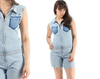 Denim Playsuit 90s Reworked Jean Shortalls Shorts Zip Up Faded Pantsuit Cut Off Shorts Stone Wash Festival Mini Overalls Stretchy Medium