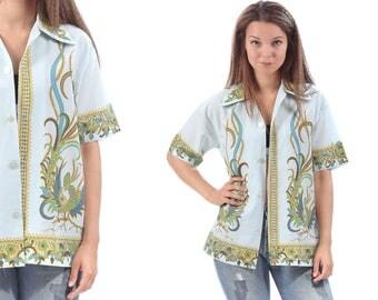 60's Men's HAWAIIAN Shirt Colonial Hawaii Wing Collar 1970s Floral Tropical Peacock Print 60s Short Sleeve Summer Shirt Medium to  Large