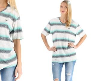 Lacoste Shirt Striped Tee Shirt 70s Crocodile Hipster Tshirt Burnout Vintage Cotton Unisex Retro Collarless V Neck White Gray Green Large