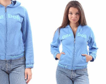 HOODIE Jacket 90s Vintage REEBOK Zip Up Jacket Spellout Logo Athletic Track Top Blue 1990s Sport Track Jacket Women Hipster Small
