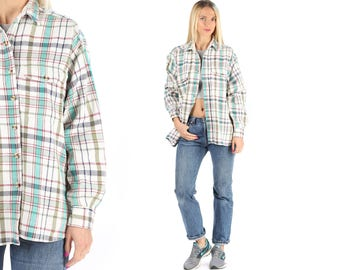 Plaid Flannel Shirt 80s Well Worn Men's Unisex Distressed Grunge Thick Soft Cotton Soft Pockets Faded White Green XL