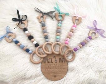 Baby pram toy, hanging toy, wood & silicone