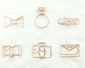 Lovely Paper Clips Set #1 - Paper Clips, Bow, Book, Love, Camera, Envelop, Ring