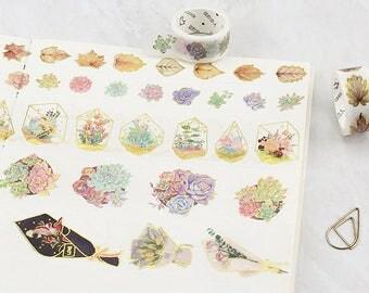 Gold Foil Plants Washi Tape Set - Planner, Journal, Craft, Scrapbooking, Decoration