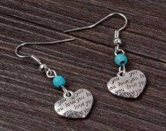 Silver Heart Drop Earrings
