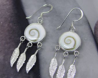 Earrings Silver (three feathers) and eye of Saint Lucia