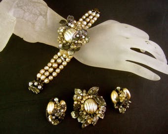 Exquisite Glass Enamel Pearl & Crystal Set by Robert' c 1950s