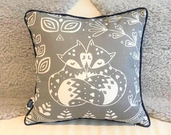 Daniel and Rosie Fox Cushion in grey with midnight blue piping, scandi lifestyle interior decor