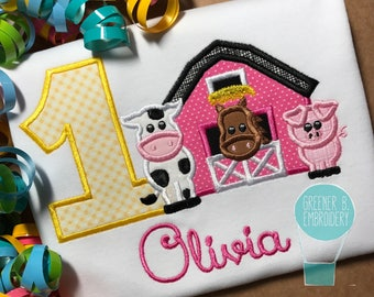 Farm Birthday Shirt / Farm Shirt / Farm Animals / Farm Applique / Pink Barn / First Birthday Shirt / 1st Birthday / 1st Birthday Outfit /