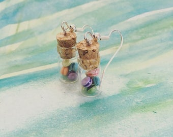 Jar of macarons dangle earrings