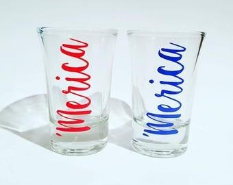 Merica shot glass, merica shot glass set, america shot glasses, custom shot glasses