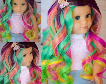 "Custom Doll wig for 18"" American Girl Doll Heat Safe Tangle Resistant - Our Generation Gotz Journey Girl"