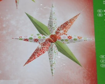 Set of DIY decorative red and green stars
