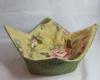 10 Inch Microwave Bowl Cozy/Holder. Floral Print and Green/White Polka Dot. Hostess or Housewarming Gift