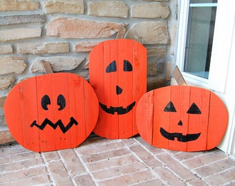 Set of 3 Halloween Jack-o-lantern Home Yard Decorations made from reclaimed wood -fall decor, Jackolanterns, home decor, lawn decor