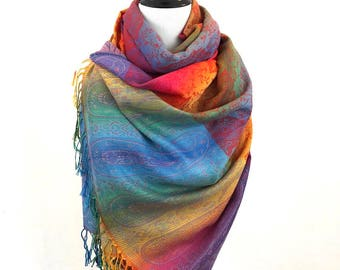 Pashmina Scarf Rainbow Scarf Pashmina Shawl Gift For Her Fashion Accessories Mothers Day Pashmina Scarves Women Scarf Shawls&Wraps