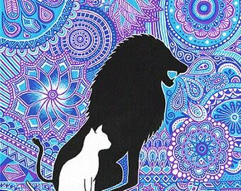 """Peinture sur toile """"La force du lion"""" - """"Lion power"""" painting"""