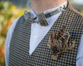 Mens Feather Lapel Pin Pheasant Wedding Boutonniere with Feather Groomsmen Lapel Pin Pheasant Feathers