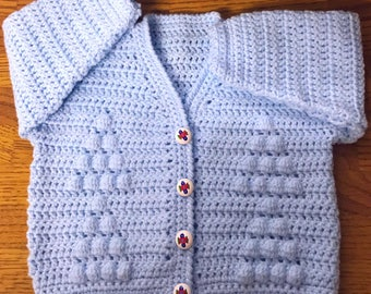 Printed Baby Crochet Cardigan Pattern In DK. Sizes 3 months to 6 years (1018)