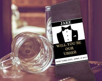 Be our usher, Asking usher, Asking ushers, Groomsman proposal, Asking groomsman sock, Groomsman gift, Instant Download Editable PDF template