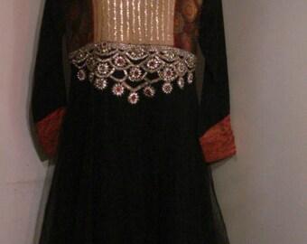 Vintage Indian Dress & Trousers Bohemian Ethnic Gypsy Brocade Sequin Diamante Shalwar Kameez