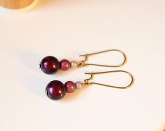 Earrings pearls magic purple gradient